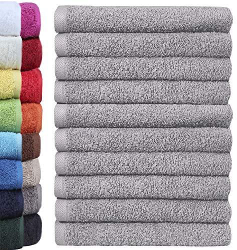 Lot de 10 gants de toilette NatureMark - 100 % coton - Dimensions : 30 x 30 cm - Couleur : gris argenté