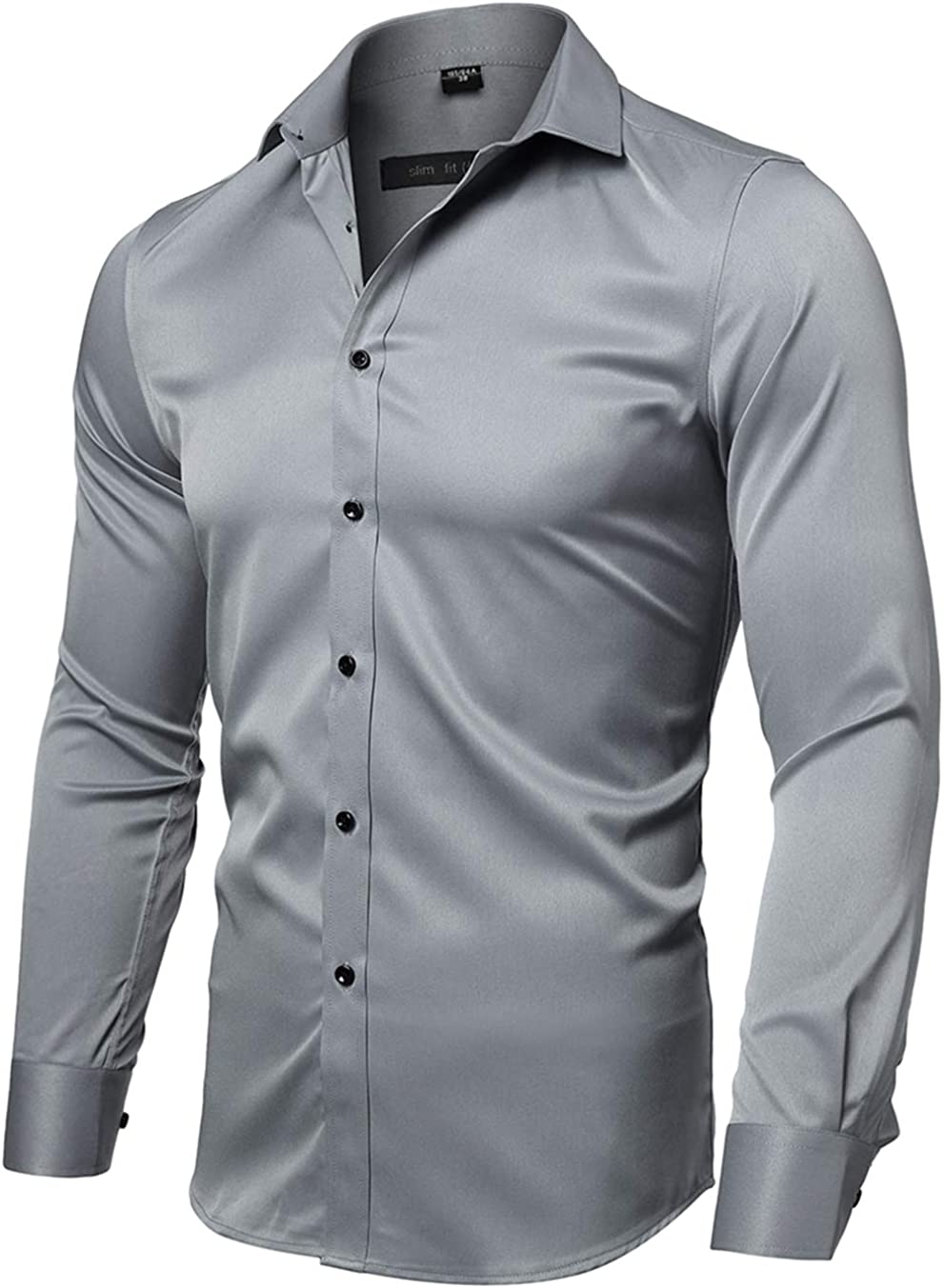 FLY HAWK Outlet sale feature Mens Finally resale start Dress Shirts Slim Elastic Bamboo Long Fit Sleeves