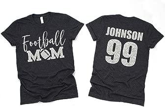 Custom Football Mom Glitter Shirt, Football Mom Shirt, Bling Football Mom Long Sleeve Short Sleeve Unisex Fit, Pick Your Colors