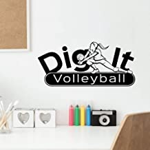 Quotes Wall Sticker Mural Decal Art Home Decor Dig It Girl Volleyball Player Sport for Gym