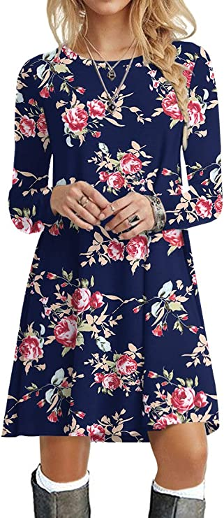 POPYOUNG Women's Long Sleeve Dress, Casual Valentines Day Dress for Date Night