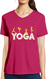Pooplu Womens Yoga Moves Cotton Printed V Neck Half Sleeves Pink t.Shirt. Exercise & Gym t Shirt