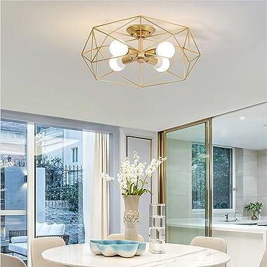 Modo Lighting Gold Semi Flush Mount Ceiling Light 4-Light Metal Cage Ceiling Light Fixture Rustic Industrial Decor Lamp for L