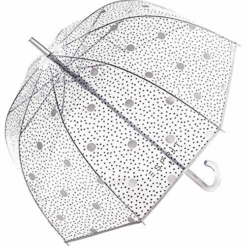 Esprit Damen Glockenschirm durchsichtig transparent Automatik Dots & Dots
