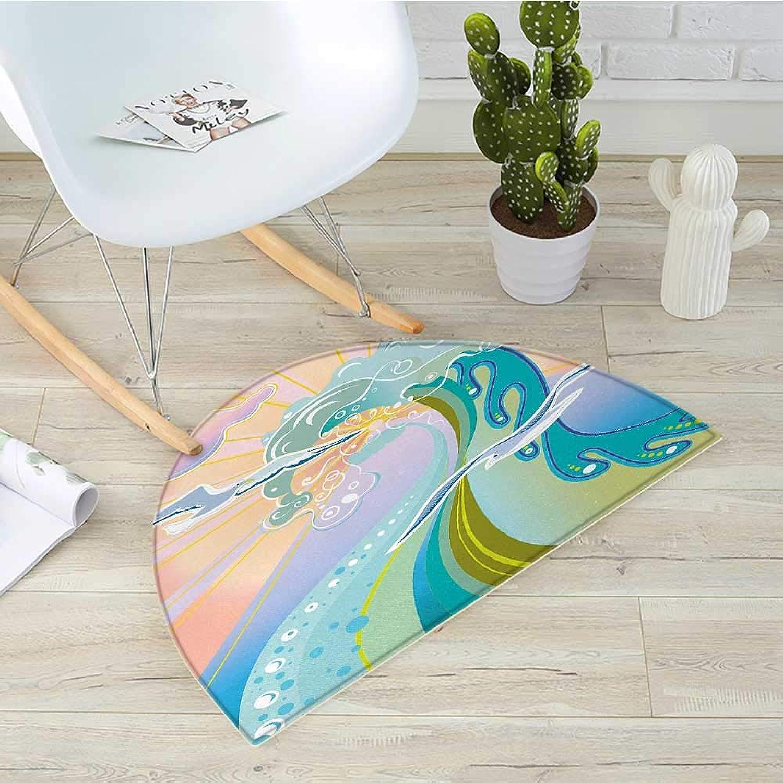 Modern Semicircle Doormat Cartoon Like Image Waves Birds Foams and Bubbles with Sunset Like Design Artwork Halfmoon doormats H 31.5  xD 47.2  Multicolor