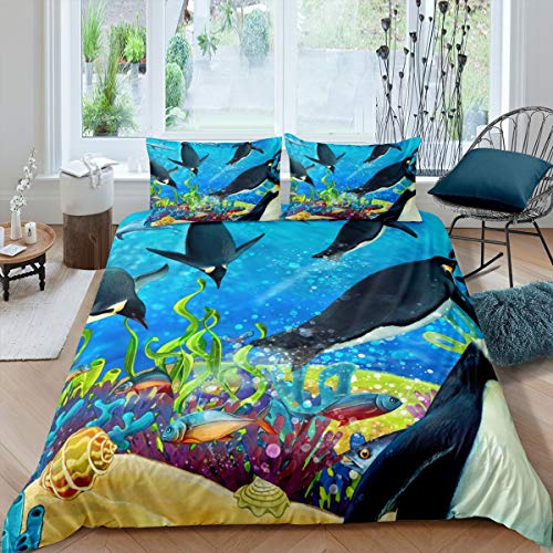 Tbrand Ocean Comforter Cover Set Penguin Tropical Fish Coral Bedding Set for Kids Boys Girls Marine Life Duvet Cover Funny Animal Printed Bedspread Cover Decor Bedroom Collection 3Pcs Super King Size