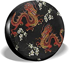 Spare Tire Cover Jeep Chinese Japanese Dragon Flower Trailer Truck RV SUV Covers 16 Inch
