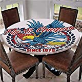 """Elastic Edged Polyester Fitted Table Cover,Fly and Conquer Colorful American Bird Carrying Hand Grenades with USA Flag Decorative,Fits up 45""""-56"""" Diameter Tables,The Ultimate Protection for Your Table"""