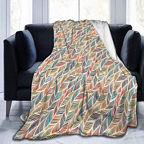 AEMAPE Onda de Pluma Abstracta Aspecto Retro y líneas Cortas Coloridas artísticas Curvas Microfibra Manta cálida para Todas Las Estaciones Manta de Tiro