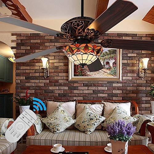 WYQSX E27 Leise Deckenventilator mit Beleuchtung und Fernbedienung, Tiffany Stil Handgemacht Buntglas Lampenschirm, Barock Ventilator Deckenleuchte Wohnzimmerlampe Vintage Flügel aus Holz,Ø122cm