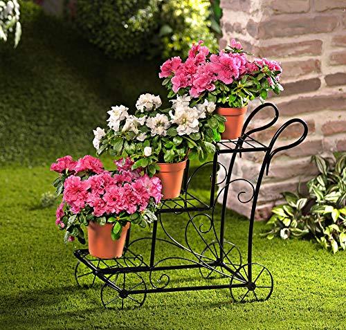 Spetebo Metall Deko Blumenwagen mit 3 Ablagen - 50 x 50 x 25 cm - Pflanzenständer Blumenregal Blumenhalter Blumentreppe schwarz Außen