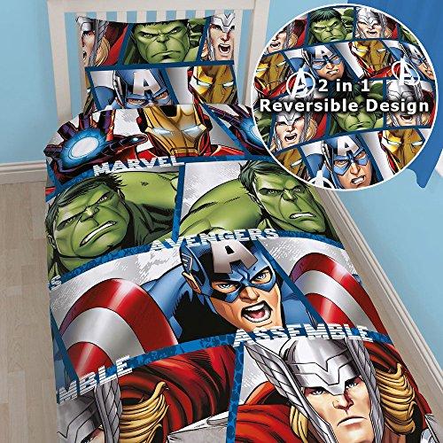 Marvel Avengers Assemble Reversible Duvet Single Bed Set Duvet Cover and Pillow Case