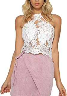 ZYDP Women's Sexy Halter Hanging Neck Sleeveless Lace Floral Emboridery See Through Crop Vest Tank Tops (Color : Silver, Size : L)