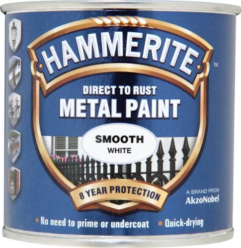 Hammerite Direct to Rust Metal Paint - Smooth White Finish 250ML