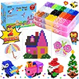 SEEKONE Fuse Beads Kit, 24 Colors 10400 Pcs DIY Art Craft Iron Perler Beads Set for Kids with Pegboards, Pattern Cards, Tweezers and Ironing Paper,90 Patterns