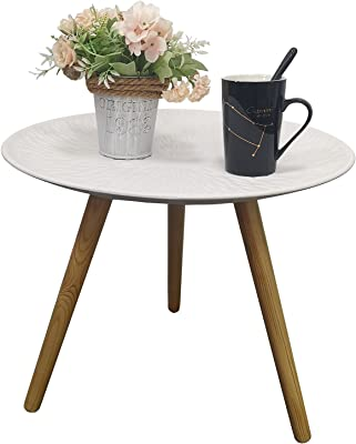 """IronBuddy Wooden Round Side Table Nordic Retro White Tray Table with 3 Solid Wood Legs, 19.3"""" x 16.1"""" Accent Table Nightstand Coffee End Table for Living Room Bedroom Small Spaces"""