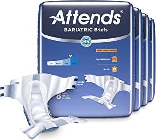 Attends Bariatric Briefs with Advanced DermaDry Technology for Adult Incontinence Care, XXX-Large, Unisex, 32Count