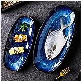 xinwan Placas de Cena Estilo Horno Cambio de estiércol de Porcelana de Porcelana Placas para Cena para Aperitivos de Carne Placa Placa de Postre Placa de Pescado Placas (Color: s)