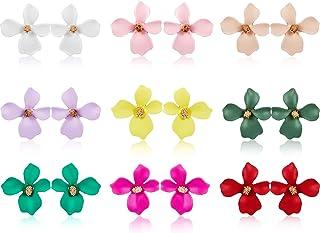 9 Pairs Flower Stud Earrings Set Bohemian Flower Earrings with Faux Flower Bud for Women Girls