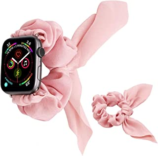 UooMoo Band Scrunchies Compatible with Apple Watch 1/2/3/4/5 38mm/40mm,Women Girls Rabbit Elastics Hair Wristbands Replace...