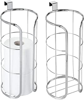 mDesign Modern Over The Tank Hanging Toilet Tissue Paper Roll Holder and Reserve for Bathroom Storage - Stores 3 Extra Rolls, Holds Jumbo-Sized Rolls - Durable Metal Wire, 2 Pack - Chrome