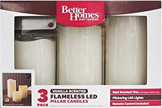 Flameless LED Pillar Candles, 3pk, Vanilla Scent with Remote Control