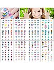HOWAF 360+ Niñas Lindos Nail Art Stickers Calcomanías, 3D Uñas Pegatinas Autoadhesiva Manicura Decorativas para Niñas Niños Cumpleaños Maquillaje Decoración, Flor Mariposa Corazón Estrella Arco Iris