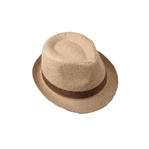 51ef8b4fda5 Dantiya Little Boys  Kids Linen Straw Band Fedoras Hat Caps