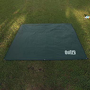 OUTRY Waterproof Multi-Purpose Tarp - Tent Stakes Included, L - 7.9ft x 7.2ft, Lightweight Camping Picnic Ground Sheet Cover Cloth Mat Outdoor Footprint Rainfly Backpacking Rain Fly Shelter Tarpaulin