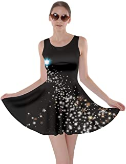 Womens Starry Night Sky Moon Stars Space Constellations Planets Mrs Frizzle Skater Dress, XS-5XL