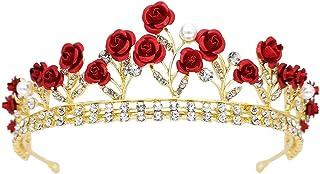 RKY Ragazze Corona, Corona Collana Copricapo Ragazze Orecchini Set Fiore Rosso for Bambini Fascia Performance Mostra Coron...