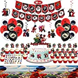 Miraculous Party Supplies-92 Pcs Ladybug Birthday Party Decorations Include 1 Set Of Happy Birthday Banner-1 Tablecloth-6 Hanging Swirls-15 Balloons-1 Cake Topper-24 Cupcake Toppers-30 Stickers