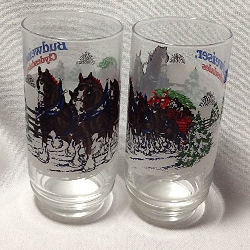 Vintage Anheuser-Busch Collectible Glass, Budweiser Clydesdales Glasses, Set of 2 Glasses