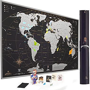 MyMap Scratch off World Map Wall Poster with US States Outlined, Includes Pins, Buttons and Scratcher, 35x25 Inches, Glossy Finish, Black/Silver