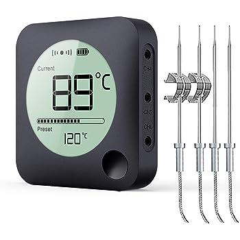 BFOUR Termometro da Cucina Digitale Termometro per Cucina Bluetooth Termometro per Carne Barbecue Wireless Termometro da Forno con Timer BBQ Griglia LED Display App 6 Sensori (Nero, 4 Sonde)