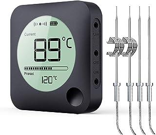 BFOUR Grille Bluetooth Thermometer Bratenthermometer mit Zeitmesser, 4 Temperaturfühlern..