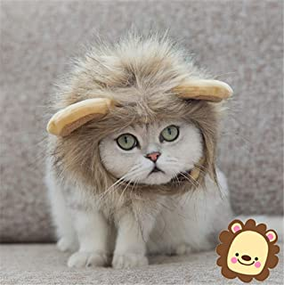 Pet Costumes Lion Mane Wig - Realistic & Funny Cat Costume and Small Dog Costume with Complimentary Feathered Catnip Toy H...
