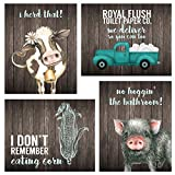 Silly Goose Gifts Bathroom Themed Decor Art Print Wall Art Funny Gift Sets Typography Rustic Unframed Pictures...