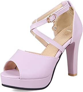 Judy Bacon Women's Fashion Wedding Peep Toe Chunky High Heel Buckled Sandals