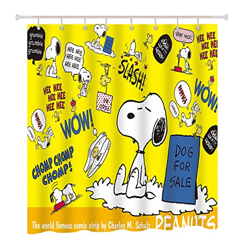 Finex Gelber Snoopy wasserdichter Duschvorhang mit 12 Duschvorhang-Haken für Zuhause, Teenager, Kinder, Studenten, Wohnung, Badezimmer-Dekor