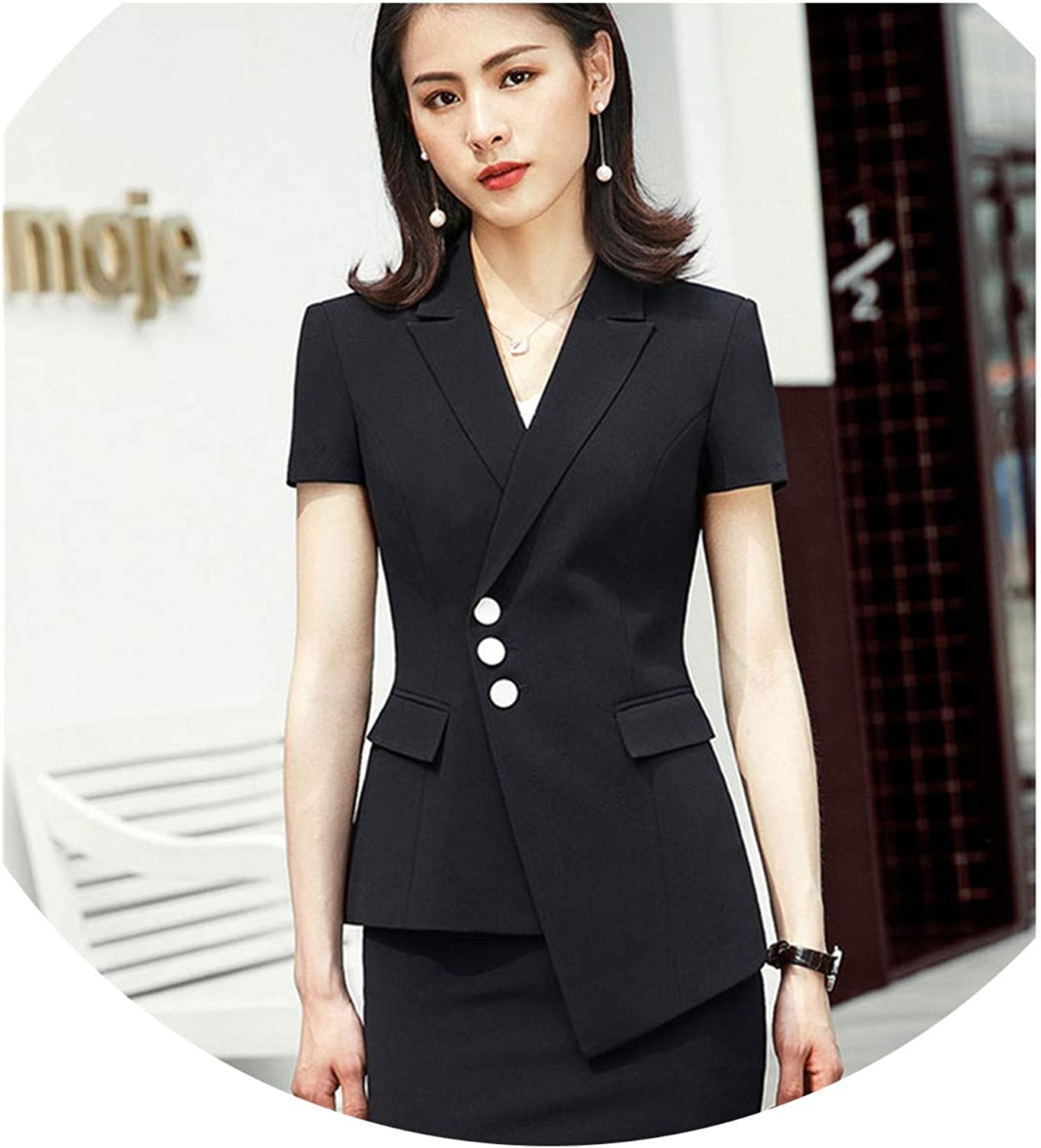 Summer Clothes for Women Pant Suit OL Formal Business Blazer and Trousers Work wear,Black Coat and Skirt,4XL