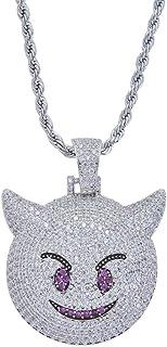 Gioielli Moca Iced out Little Devil Ciondolo Emoji Collana placcata in Oro con Diamante simulato Bling CZ Placcato in Oro ...