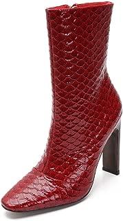 295B-3 Women's Square Toe Boots Chunky Heel Zip Fashion High Heel Boots