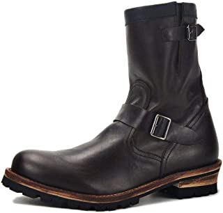 Bottes Chukka Western mi-Mollet pour Homme Bottes de Moto Cowboy en Cuir véritable Chaussures à la Main de Grande Taille à...