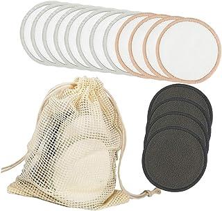 Beaupretty Charcoal Bamboo Reusable Makeup Remover Pads Biodegradable Reusable Velvet Cotton Pads Organic Bamboo Cotton Face Rounds Makeup Pads with Storage Bag 16pcs