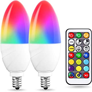 JandCase E12 Candelabra Color Changing Light Bulb for Christmas, Remote Control, RGB+Warm White+Cool White, 5W(40W Equivalent), 350lm, Timing, Dimmable Multi-Color LED Bulbs for Home, Party, 2 Pack