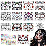 14 Hojas Halloween Tatuaje Temporal de la Cara Kit,12 Halloween Prueba de Agua Tattoo Temporal + 2 Gemas Faciales Pegatinas,para Halloween Mascarada Tatuajes Temporales de Cara Hombres y Mujeres