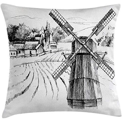 GWrix Landschapskussen kussensloop, met de hand getekend landelijk landschap kleine stad boerderij huizen bos en molen romantische schets, decoratieve vierkante kussensloop, 45 x 45 cm, zwart wit