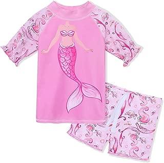 TFJH E Girls Two Piece Swimwear Butterfly Dots Printed Swimsuit UPF 50+ UV 3-10Y