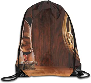 Drawstring Backpack Sports Gym Bag Bulk Bags Cinch Sacks Pull String Bags,American Style Cowboy Wild West Culture Equestrian Sports Team Roping Barn Print,for Women Men Children Large Size